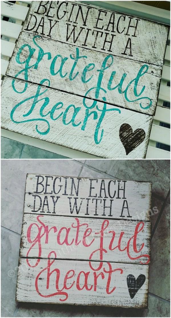 Grateful Heart Distressed Sign