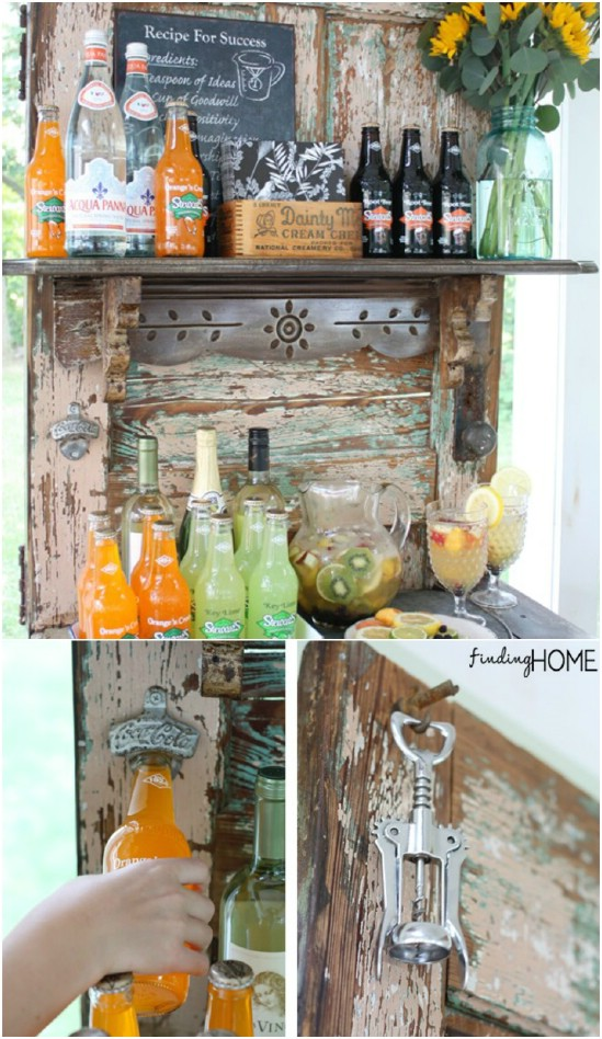 Upcycled Door Beverage Station