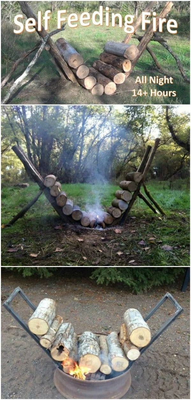 Self-Feeding Fire Pit