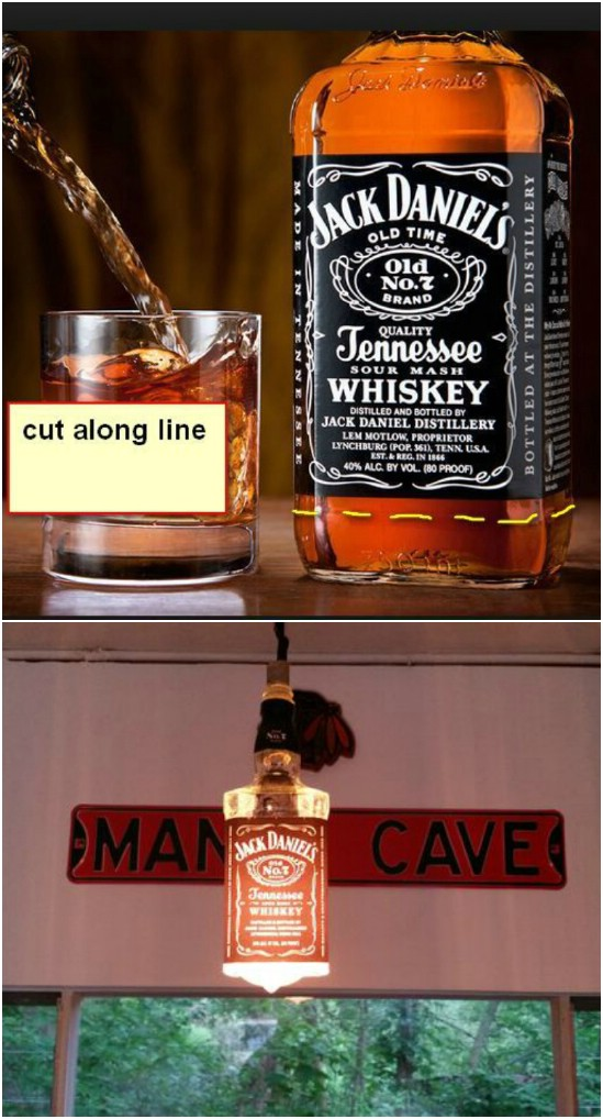 Upcycled Liquor Bottle Light
