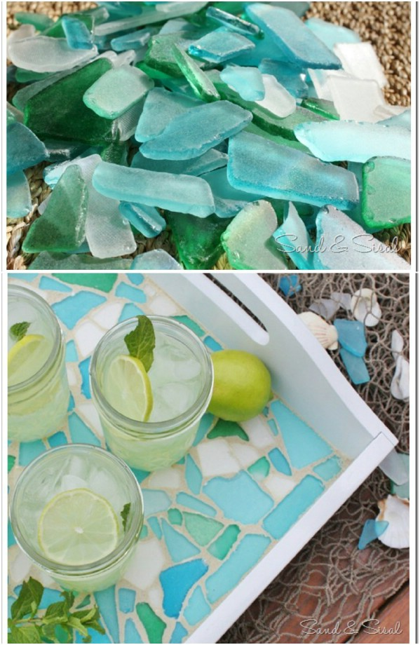 Easy DIY Sea Glass Serving Tray