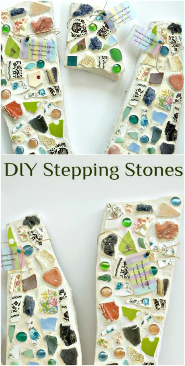 DIY Mosaic Flagstone Stepping Stones