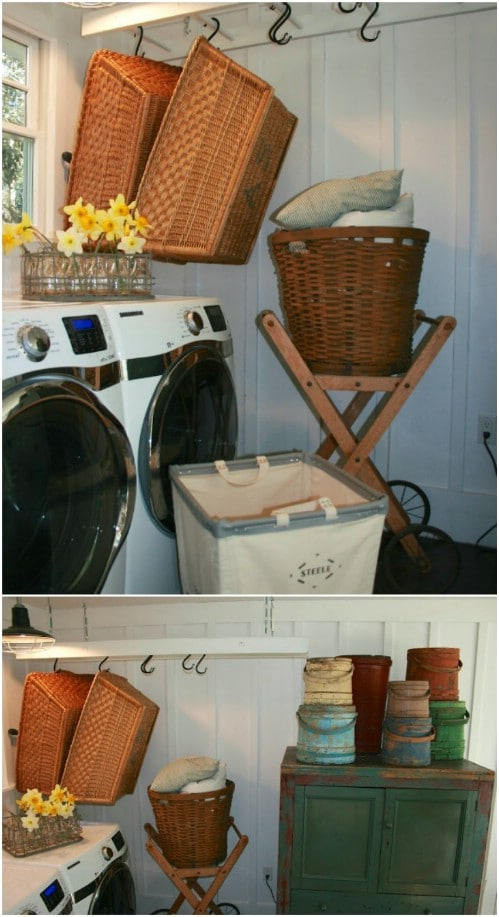 Ladder Laundry Basket Storage
