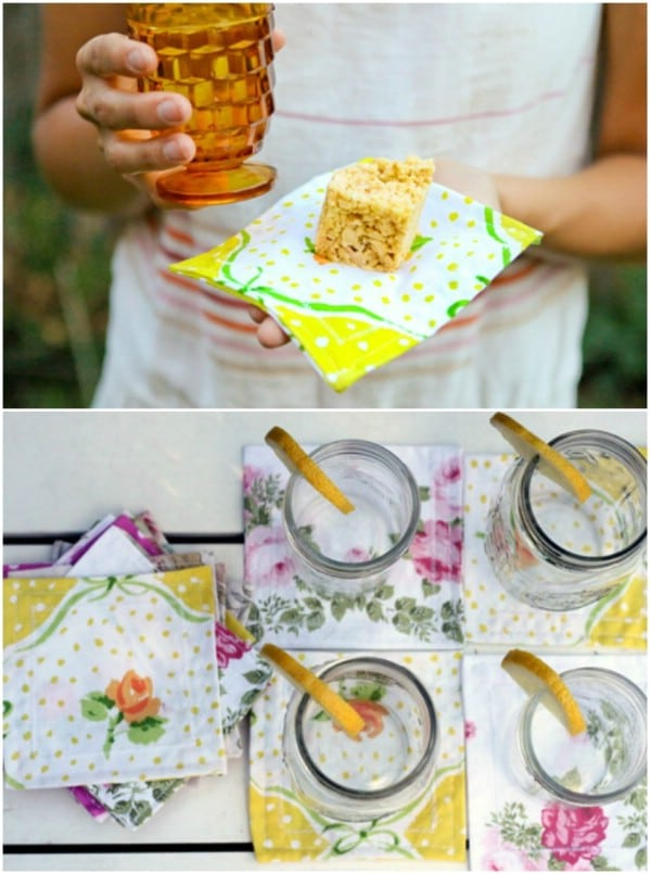 DIY repurposed Sheet Dinner Napkins
