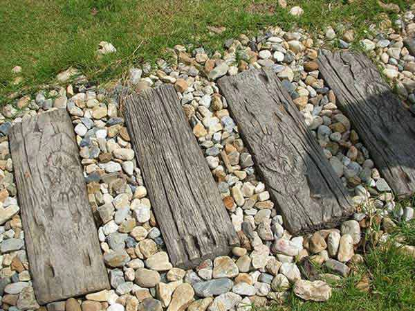 Lovely Wooden Board Stepping Stones
