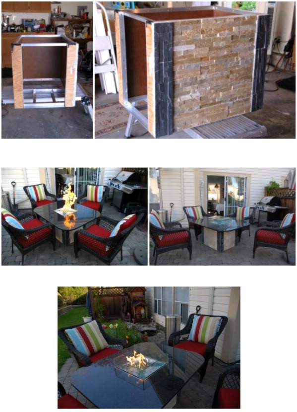 DIY Glass Top Fire Pit Table