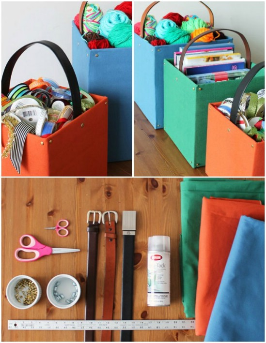 DIY Belted Storage Totes
