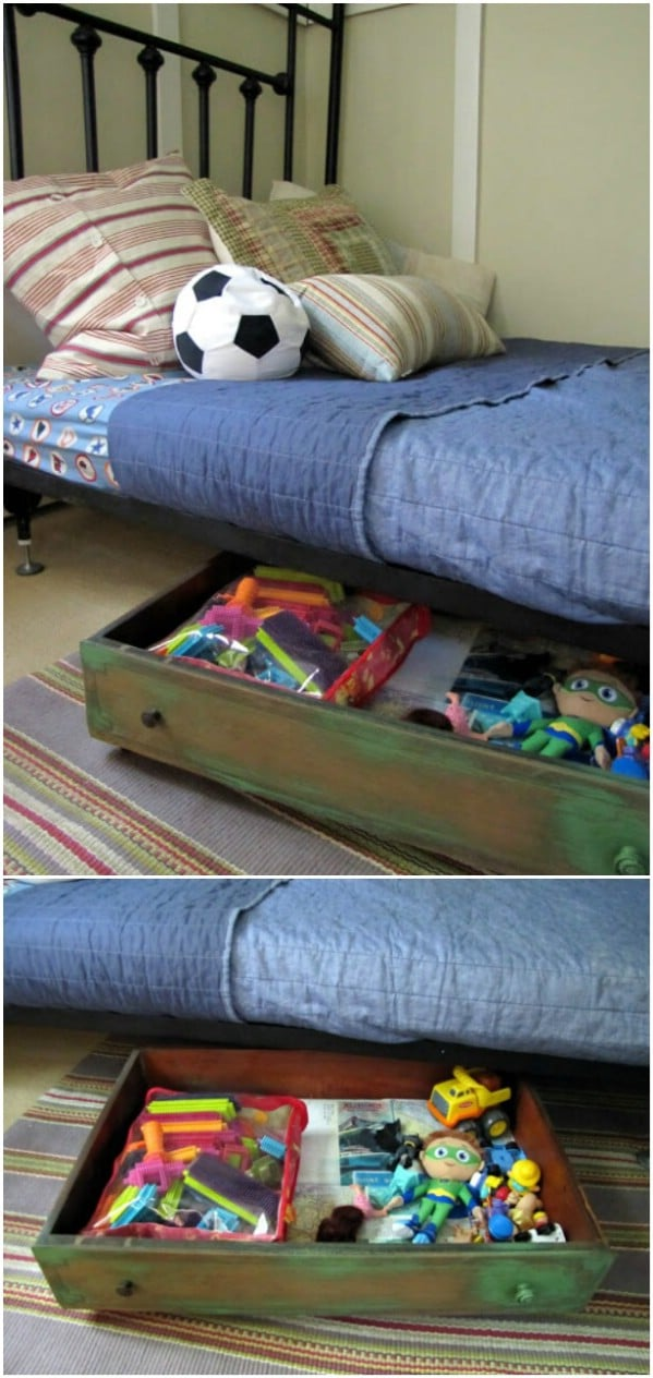 Upcycled Drawers Into Under Bed Storage