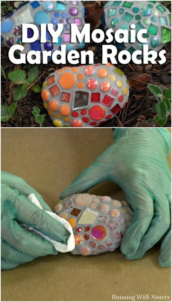 DIY Mosaic Garden Rocks From Broken Glass