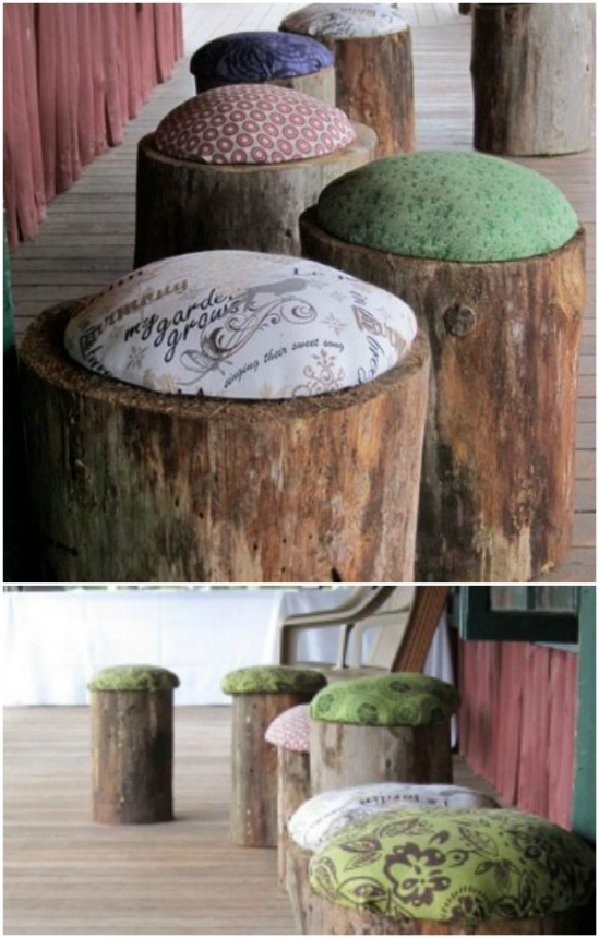 DIY Cushioned Stump Stools
