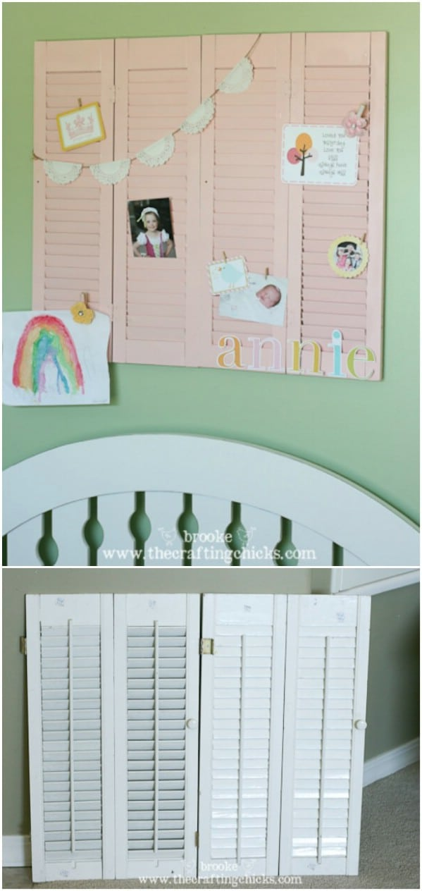 Upcycled Shutter Wall Display