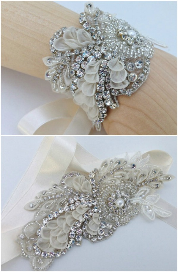 Here's another wonderful way to incorporate some vintage jewelry into your  wedding design. This cuff bracelet is absolutely gorgeous and can be made  from ...