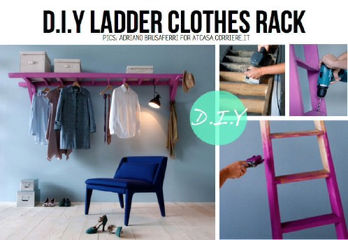 DIY Ladder Mini Closet