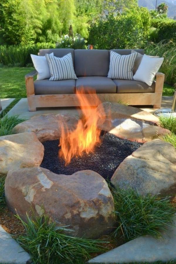 Large Boulder Fire Pit