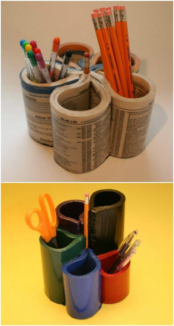 Upcycled Phone Book Turned Pen And Pencil Holder