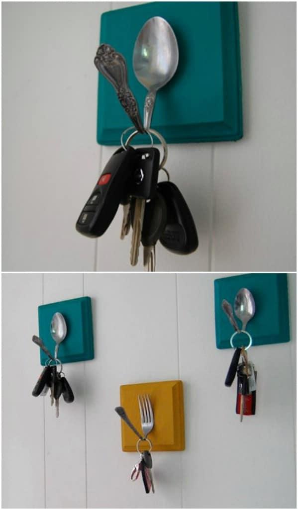 Repurposed Silverware Key Hooks
