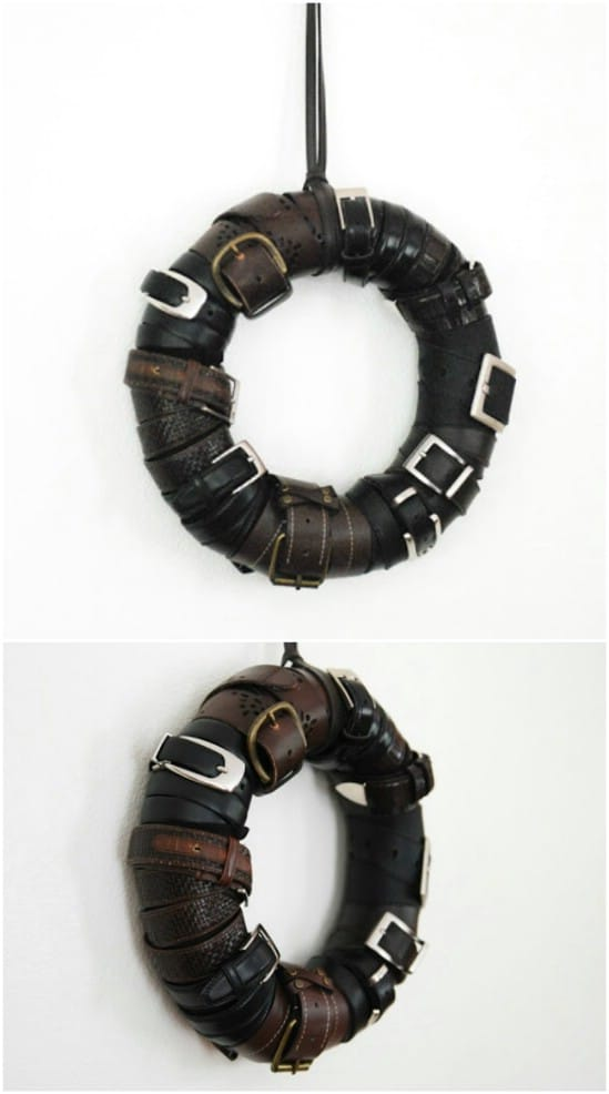 Upcycled Leather Belt Wreath