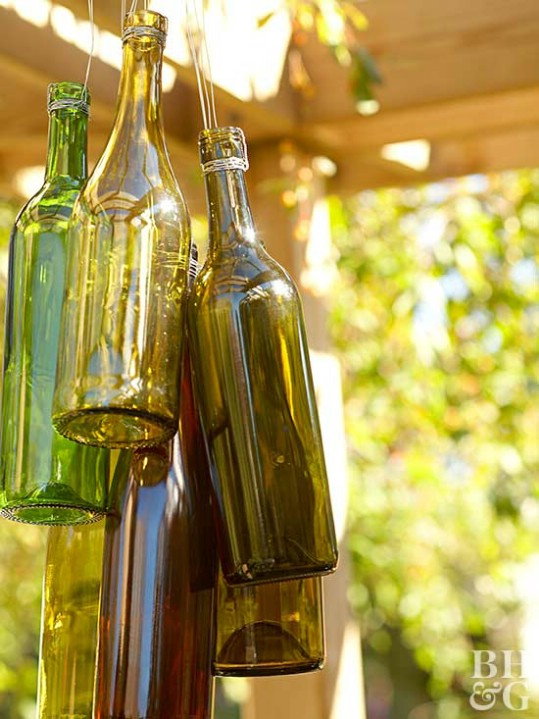 Upcycled Wine Bottle Wind Chimes