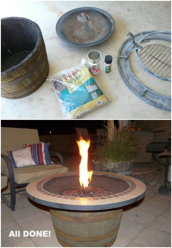 Whiskey Barrel Fire Pit - 30 Brilliantly Easy DIY Fire Pits To Enhance Your Outdoors - DIY