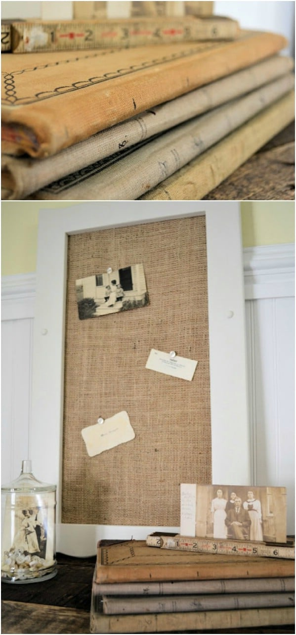 Repurposed Cabinet Door Bulletin Board
