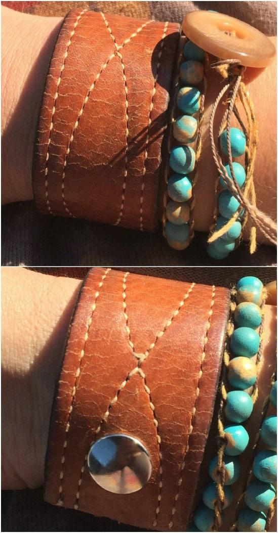 Vintage Leather Belt Cuff Bracelet