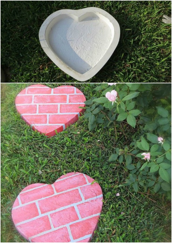 Brick Look Heart Shaped Stepping Stones