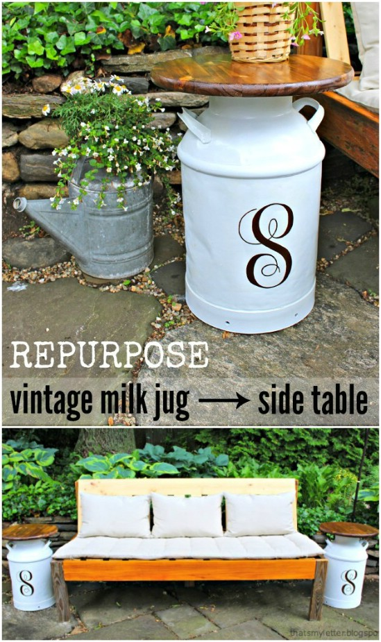Vintage Milk Jug Side Table