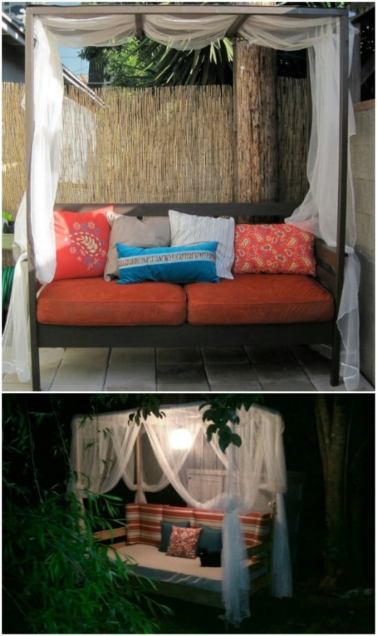DIY Backyard Daybed With Canopy