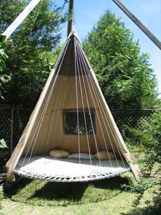 Repurposed Trampoline Teepee Bed