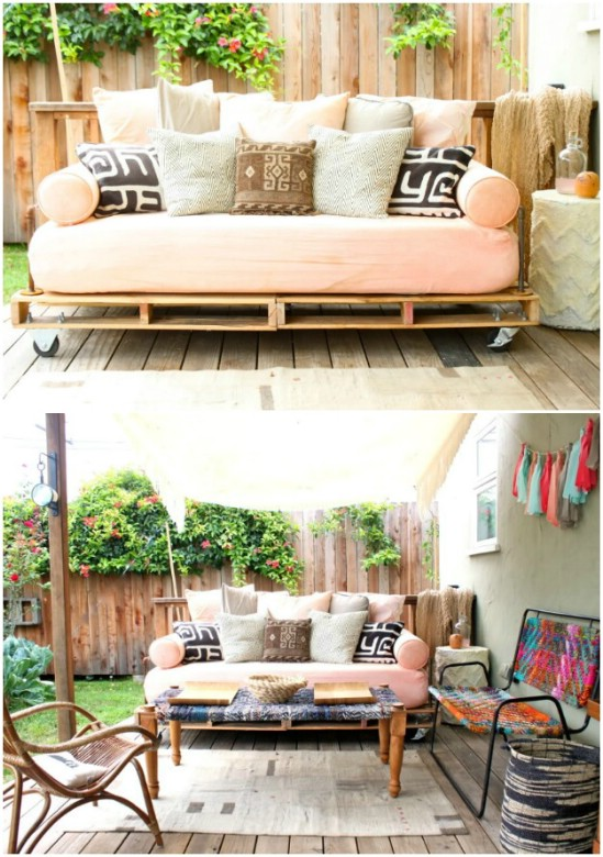 Repurposed Pallet Rolling Bed