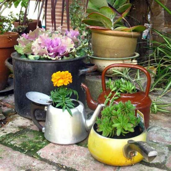 Upcycled Tea Kettle Planters