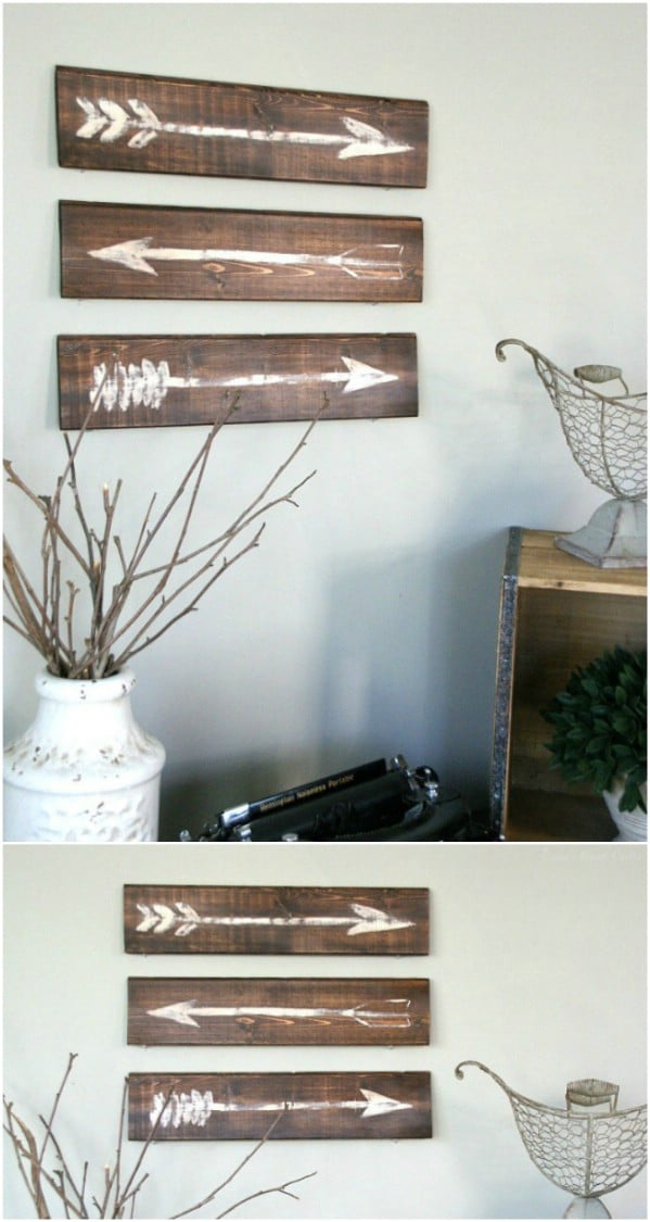 Rustic Painted Arrow Wooden Sign width=