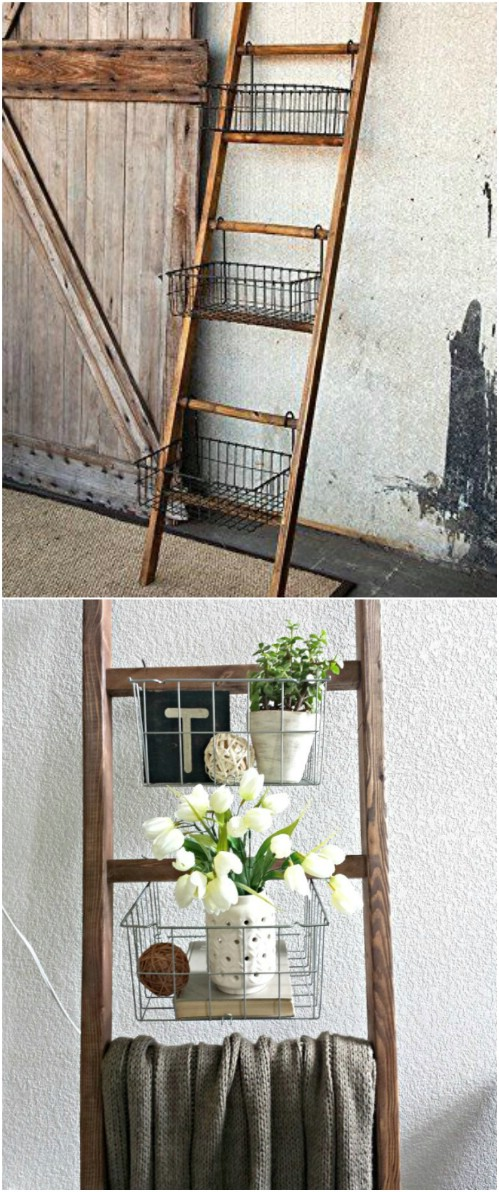 Upcycled Old Ladder Into Storage