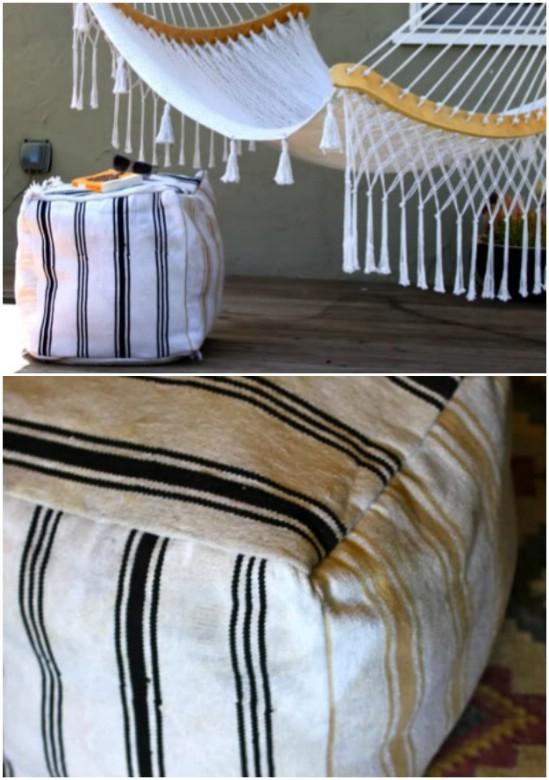 DIY Recycled Rug Ottoman