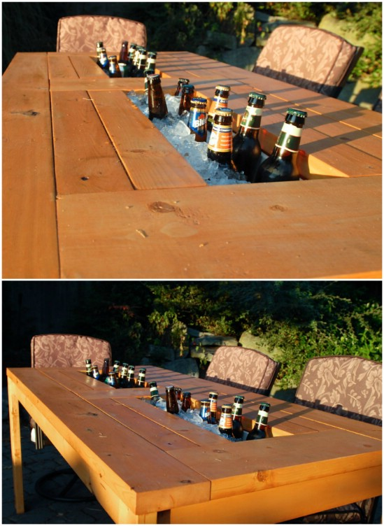 DIY Backyard Cooler Table