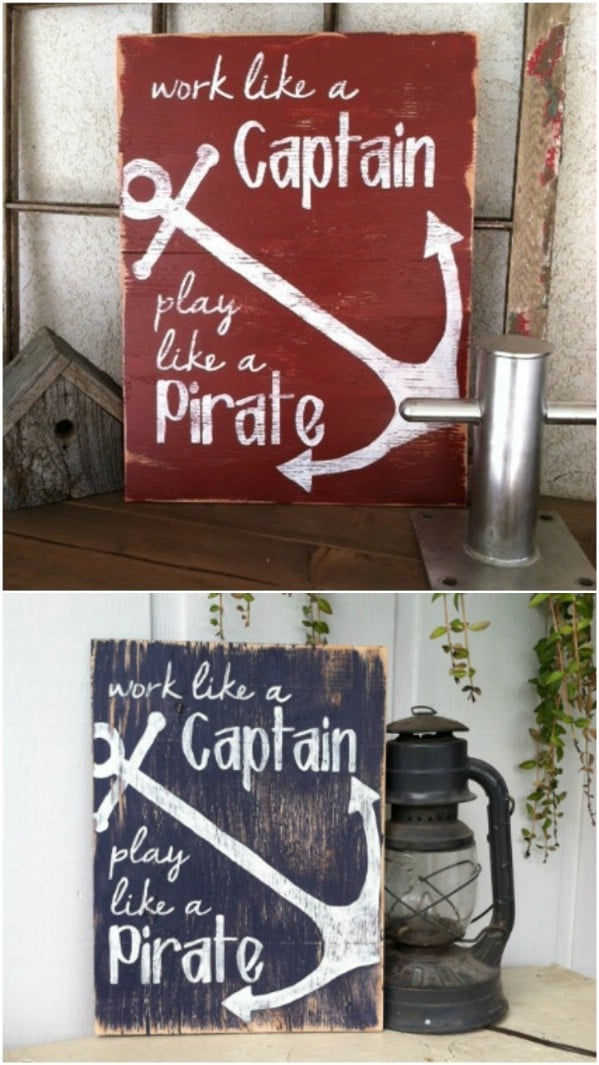 Cool Distressed Wood Boating Sign