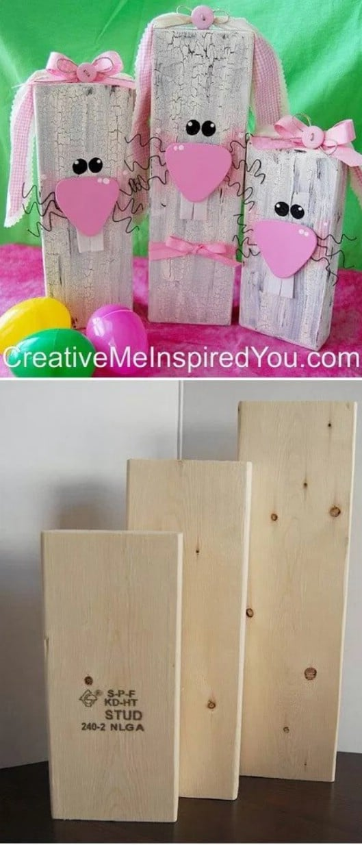 DIY Wooden Block Bunnies