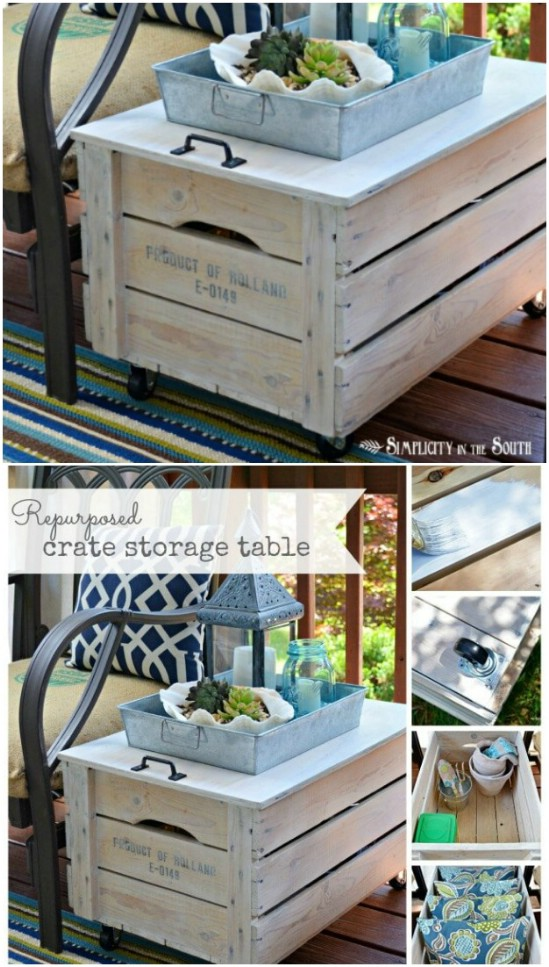 DIY Repurposed Crate Storage Table