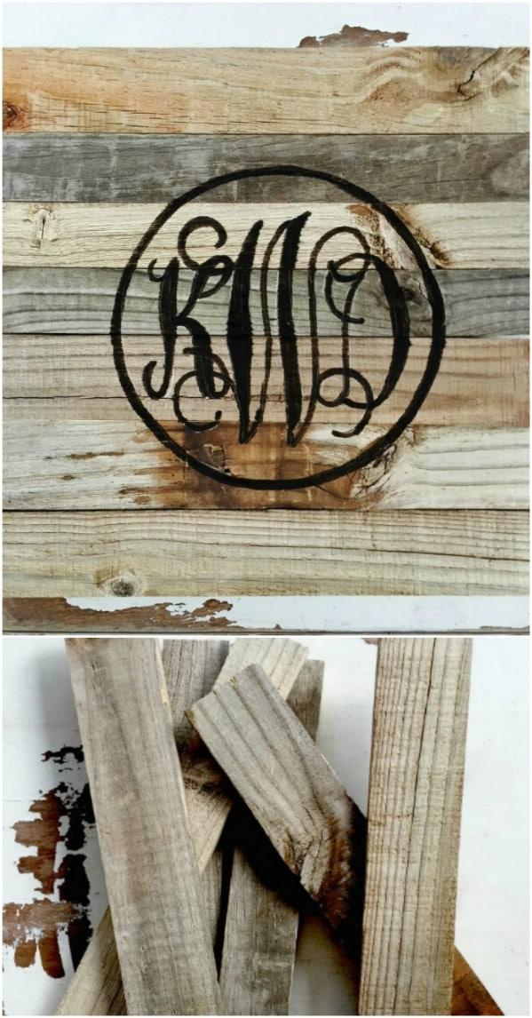 Simple Reclaimed Wood Monogram Sign