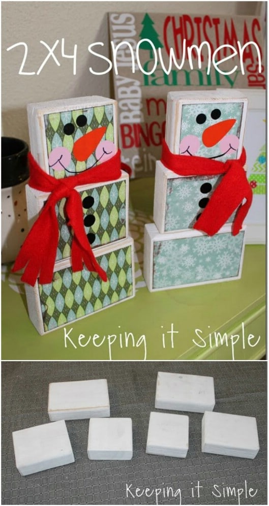 Whimsical 2X4 Block Snowmen