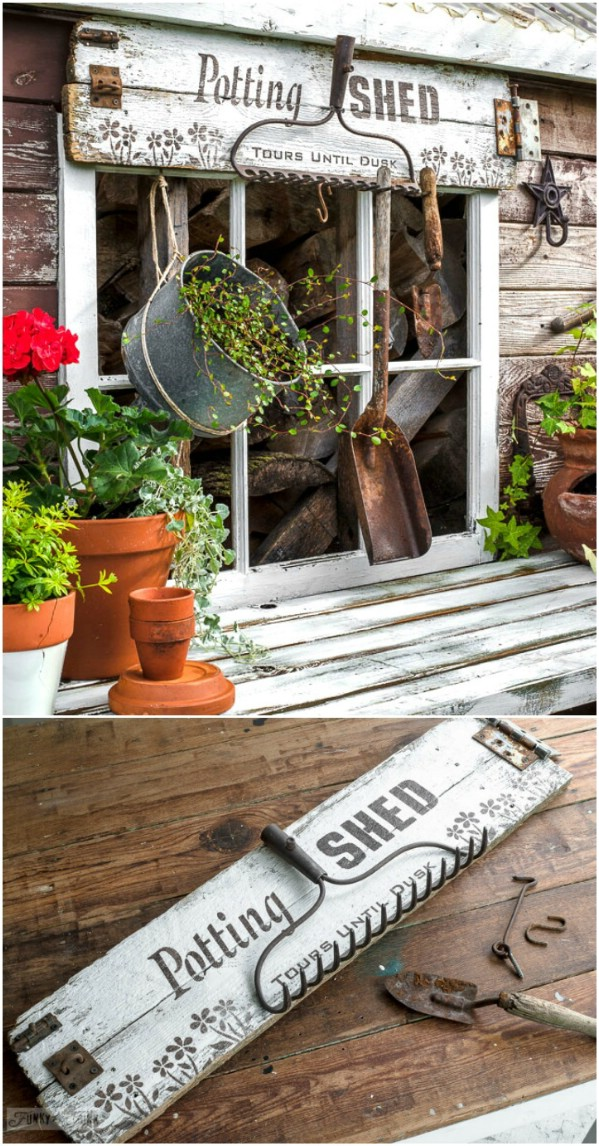 Rustic Distressed Potting Shed Sign