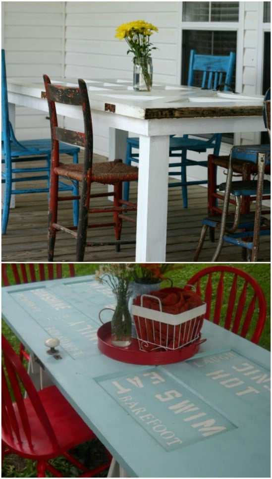Repurposed Door Outdoor Dining Table