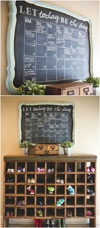 DIY Upcycled Mirror Chalkboard Calendar