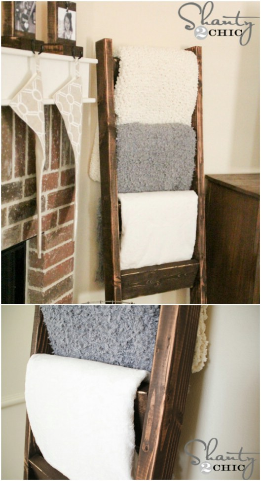 Easy $10 Wooden Blanket Ladder