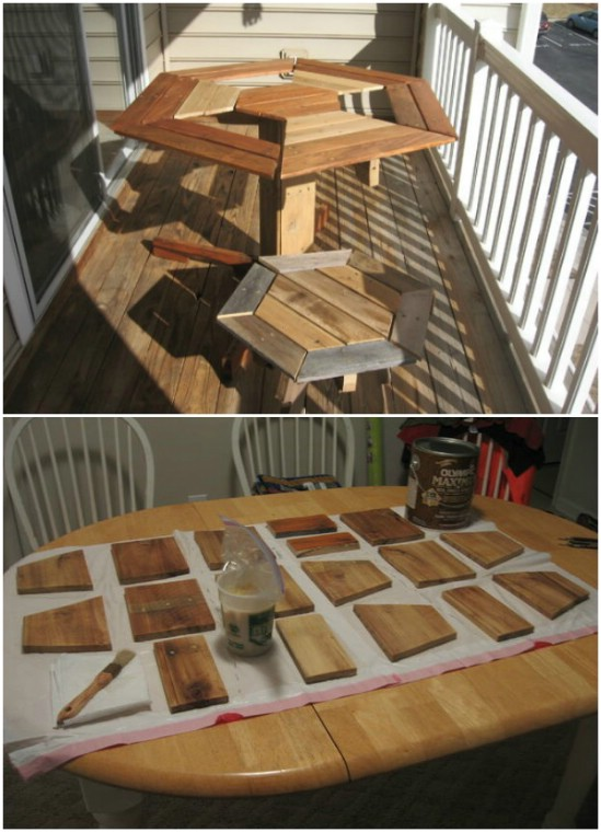 Round Upcycled Pallet Table With Adjoining Seats