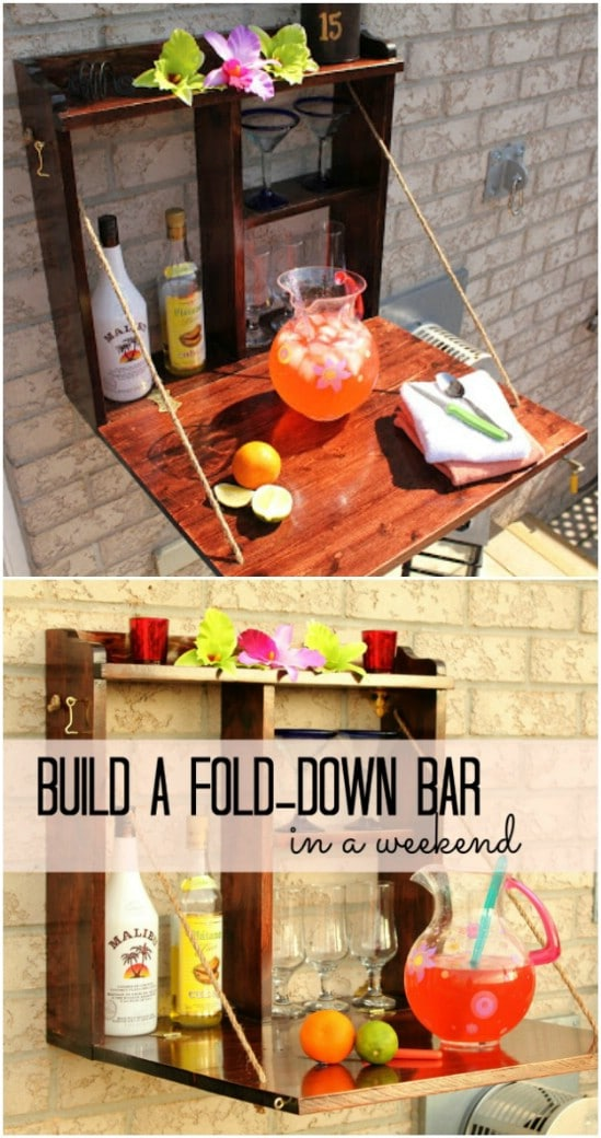 DIY Backyard Fold Down Bar
