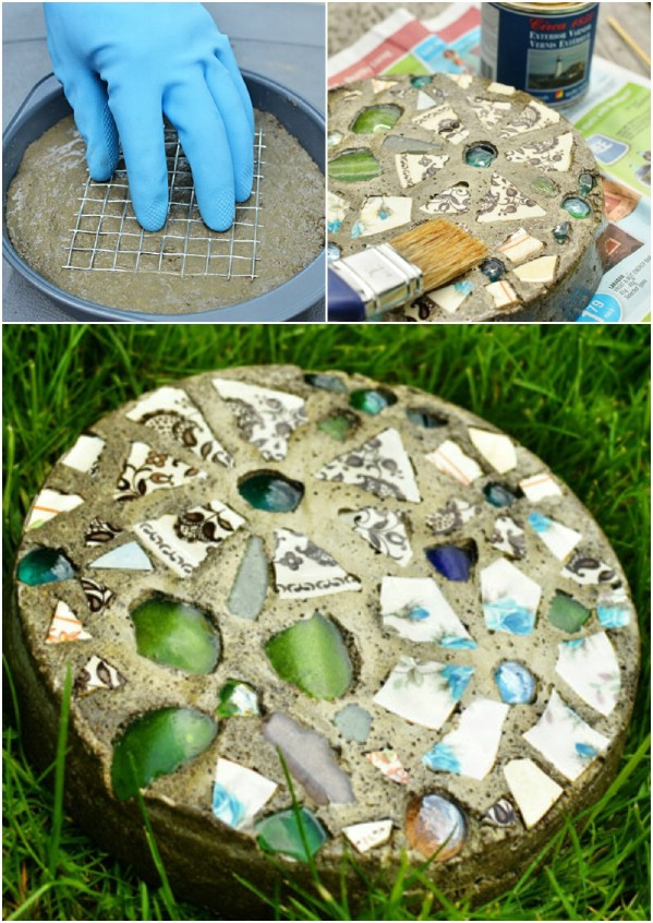 DIY Stepping Stones With Cake Pan