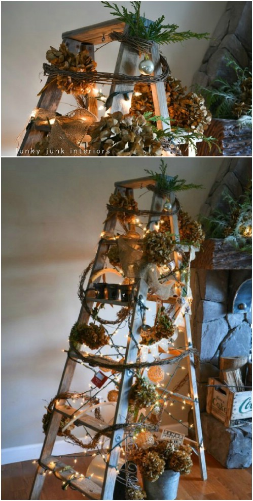 diy ladder christmas tree - Christmas Tree Ladder Decoration