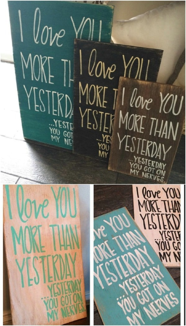 I Love You Wooden Sign Trio