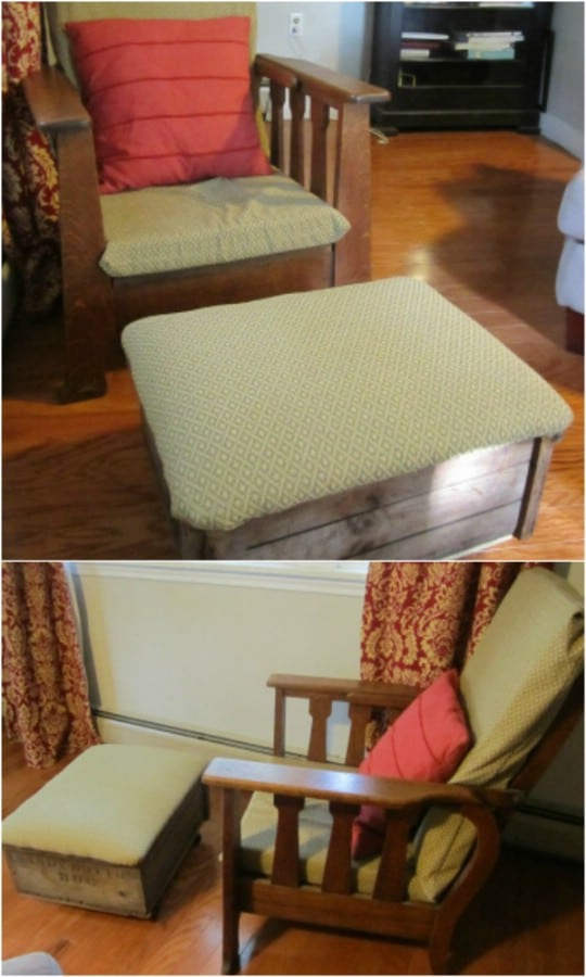 Repurposed Antique Crate Ottoman